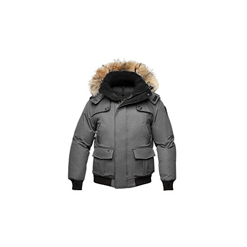 Nobis Cartel Men's Bomber Jacket Daunenjacke Winterjacke Herren Sympatex wasserdicht & warm (Grey/grau, L)