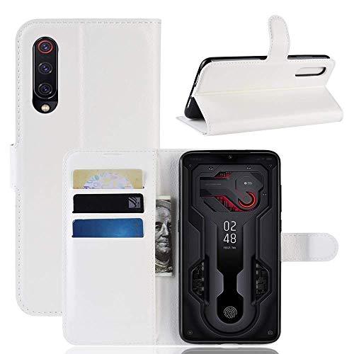 Lapinette Hülle Kompatibel mit Motorola Moto G7 Play - Schutzhülle Klappbar Stoßfeste Folio - Lederhülle Motorola Moto G7 Play - Wallet Kartenfächer Standfunktion Magnet Weiß