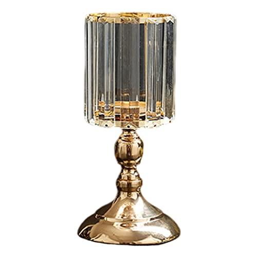 Fenteer Candelabro de pilar de cristal, candelabro cónico de vidrio transparente, candelabros para iglesia, hogar, comedor, mesa, centros de mesa, decoración - S