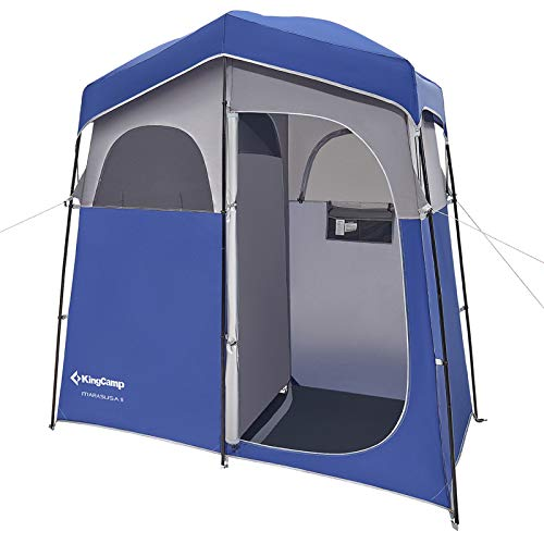 KingCamp Übergröße Duschzelt Badezelt Pop-Up-Zelt Umkleidezelt Toilettenzelt 2 Zimmer Tragbar für Strand Outdoor Party,Garten 213 * 106 * 210cm