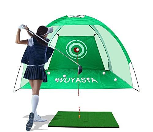 Unizooke 2M 1.2M*1.35MGolf-Übungsnetz, Golf-Trainingshilfen mit Golf Übungsmatte für Outdoor/Indoor,Faltbarer Golf Schlagnetz Mit Aufbewahrungstasche (Grün+matten)