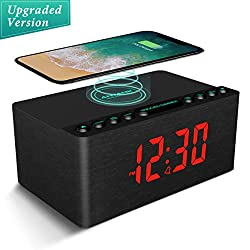 ANJANK Wooden Alarm Clock with FM Radio, 10W Super Fast Wireless Charger Station for iPhone/Samsung, 5 Level Dimmer, USB Charging Port, Sleep Timer, Digital LED Clock for Bedroom, Black