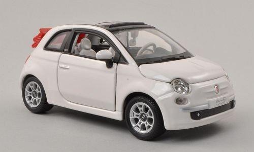 Fiat 500C Cabriolet, white, canopy open , Model Car, Ready-made, Bburago 1:24 by Bburago