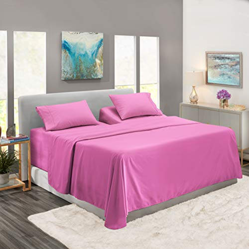 Extra Deep Pocket Fitted Sheet - Soft Microfiber Bed Sheet Set - Deep Pocket 4 Piece Fitted Sheet - Ultra Deep Split King Fitted Sheets - Split King Sized Sheets - 80 x 39 inch - Radiant Orchid Purple