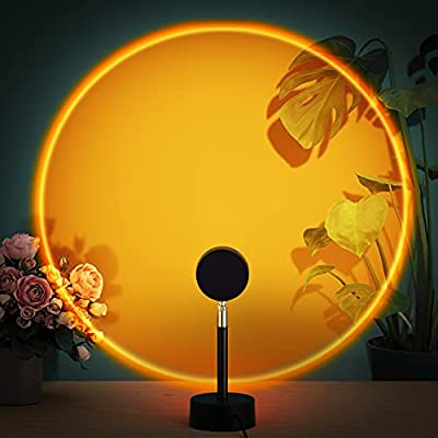 Sunset Lamp Projection, Sunset Rainbow Projector LED Light with 10W Adapter and 180 Degree Rotation Romantic Visual Night Light for Selfie, Tiktok, Home, Party, Living Room, Bedroom Decor, Sunset
