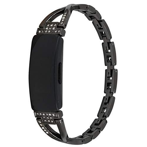 TechCode Correa de Reloj Inspire HR, Bling Rhinestone Diamante Acero Inoxidable Banda de Metal Pulsera Ajustable Pulsera Accesorios de Repuesto para Fitbit Inspire/Inspire/ ACE2 (Negro)