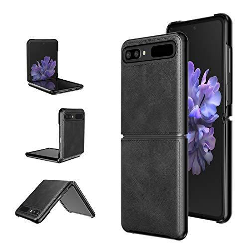Foluu für Samsung Galaxy Z Flip Hülle/Z Flip 5G Hülle, Galaxy Z Flip 5G Ledertasche, Superdünne schlanke robuste Schutzhülle für Samsung Galaxy Z Flip 5G 2020 (Black)