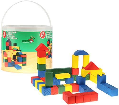 com-four® 50x Holzbausteine im Eimer - Holz-Spielzeug für Klein-Kinder - Bauklötze aus Holz