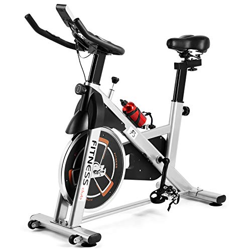 Indoor Exercise Bike Cardio Workout W/Belt Driven Flywheel Cycling Adjustable Handlebars Seat Resistance Digital Monitor Heart Rate Sensors W/Phone Holder Bottle Silver