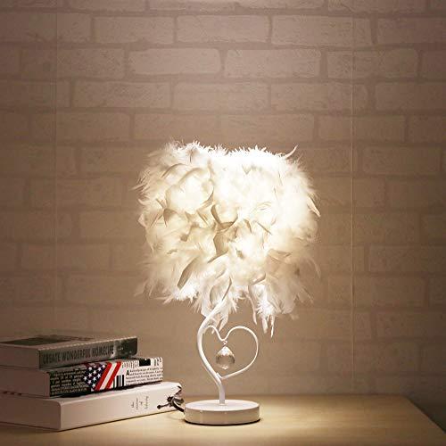 Fornorm, veren, lampenkap, tafellamp, veren, slaapkamerlamp, veer, bedlampje met E27 LED-gloeilamp en button schakelaar, huisverlichting, EU