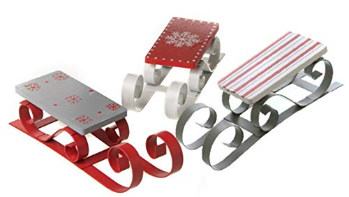 dekojohnson - Trineo Decorativo de Madera y Metal, Juego de 3 Unidades, decoración navideña, decoración...