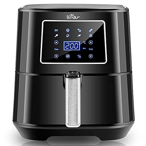Bear Air Fryer 1700W, 5,5L Freidora sin Aceite con 7 programas, Panel de Control Digital Táctil, Temperatura y Tiempo Ajustable, Sin BPA ni PFOA, Cocción más Rápida Freidora Aire Caliente [A+++]