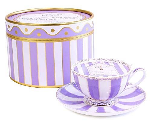 MAJESTEA & CO. Aromatherapy Soy Candles - Vanilla Scented, 20 Hour Burn, Purple - Wax Candles for Home Decoration - Doubles As a Tea Cup