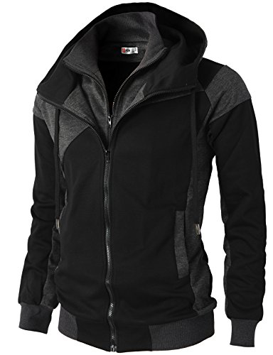 H2H Mens Hoodie Zip-Up Double Zipper Closer with Two Tone Color Black US M/Asia L (KMOHOL076)