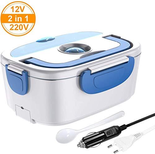 2 in 1 elektrische Lunchbox für Auto und Arbeit 15 L Speisewärmer 220V 12V Material in Lebensmittelqualität und abnehmbarem Edelstahl Farbe Blau