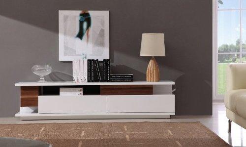 Hot Sale J and M Furniture TV 061 TV Stand White High Gloss, Light Walnut