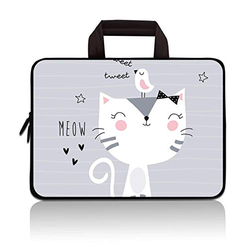 11' 11.6' 12' 12.1' 12.5' inch Laptop Carrying Bag Chromebook Case Notebook Ultrabook Bag Tablet Cover Neoprene Fit Samsung Google Acer HP DELL Lenovo Asus (11 11.6 12.1 12.2 inch, Cat & Bird)