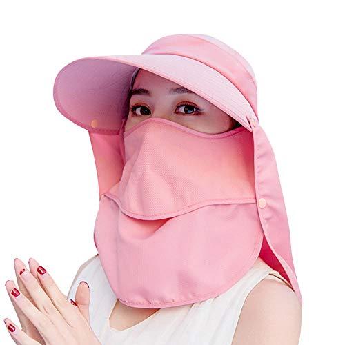 Geekcook Unisex Gorra de,Summer Women Sun Hat Gorra de Pesca Gorra al Aire Libre Sombrero de Senderismo Camping Visor Sombrero Protección Cara Cuello Cubierta Sol UV Protect Cap-Rosado
