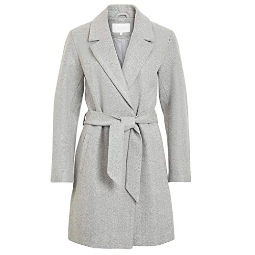 Vila NOS Damen Mantel Trenchcoat Winterparka Herbst Jacke Parka Herbstjacke Noos Coat Langarm Long Jacket (42, 7053 Light Grey Melange)