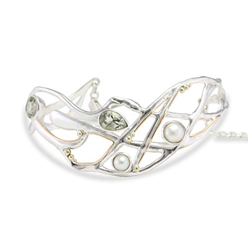 Banyan Jewellery Women's 925 Sterling Silver Statement Bangle with White Pearl and Green Amethyst