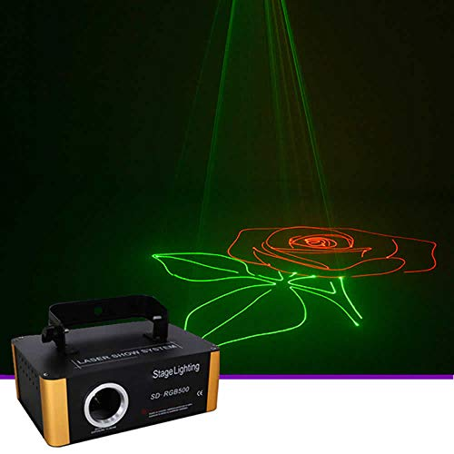 Sharelife Mini SD Card DMX512 RGB LED Stage Lighting Animation DJ Disco Scanner Projector Lights Effect Sound Activated for Festival Bar Club Party Show SD-RGB500