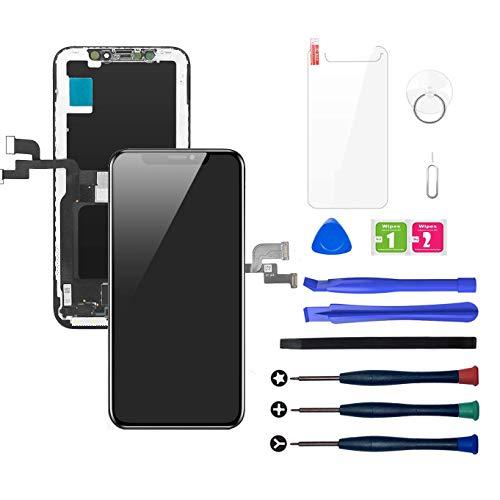 LWMTT Pantalla OLED Compatible para iPhone X Negro(5,8 Pulgadas), Digitalizador de Pantalla Táctil 3D Ensamblado con Herramientas de reparación Completas con Vidrio Templado