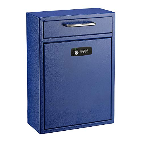 AdirOffice Ultimate Drop Box Wall-Mounted Mailbox - Hanging Secured Postbox - Durable Spacious Key or Combination Lock Box Perfect for After Hours Deposits Payments Key and Letter Drops (Large, Blue)
