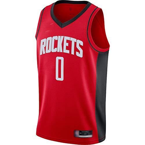 Goxegag Camiseta de baloncesto al aire libre Russell Houston NO.0 Rockets Westbrook 2020/21 Jersey Rojo Secado Rápido Deportes Manga Corta para Hombres Icon Edition