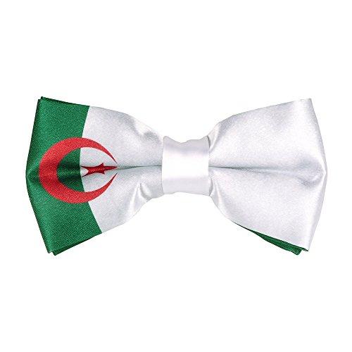 CravateSlim Noeud Papillon Drapeaux du Monde - Noeud Papillon Homme Prénoué (Drapeau Algérien)