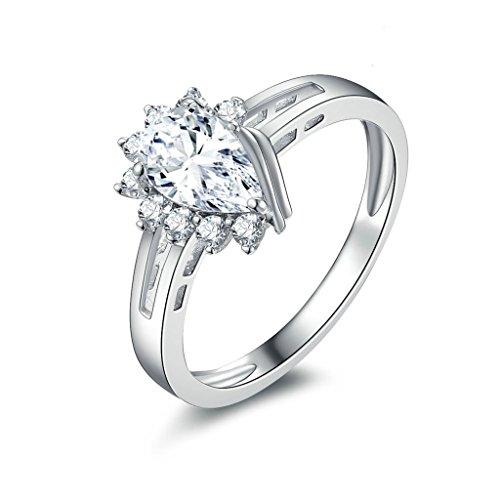 Anyeda Ringe Silber 925 Ringe Big Water Shape Drop mit Cz Silber Ringgröße 49 (15.6)