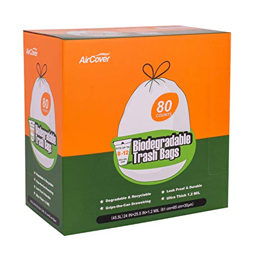 Aircover 8-12 Gallon Biodegradable Trash Bags, 80 Count Extra Thick 1.2 Mil Small Recycling Trash Garbage Bags for Bedroom, Office, Bathroom. Unscented