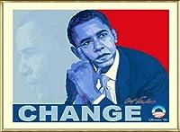 ポスター アームストロング Barack Obama change 額装品 アルミ製ベーシックフレーム(ゴールド)