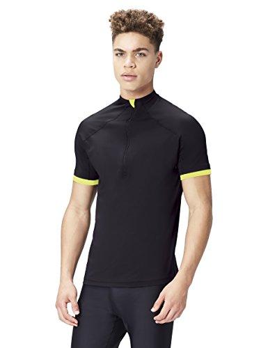 Activewear T-shirt Ciclismo Manica Corta Uomo, Nero (Black/Lime), X-Large
