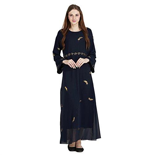 Hougood Vrouwen Abaya Jurken Maxi Jurk Moslim Islamitische Jurk Lange Mouw Dubai Kaftan Robes Dressing Jurk Dames Party Vintage Cocktail Jurk Bronzen Veer Patroon
