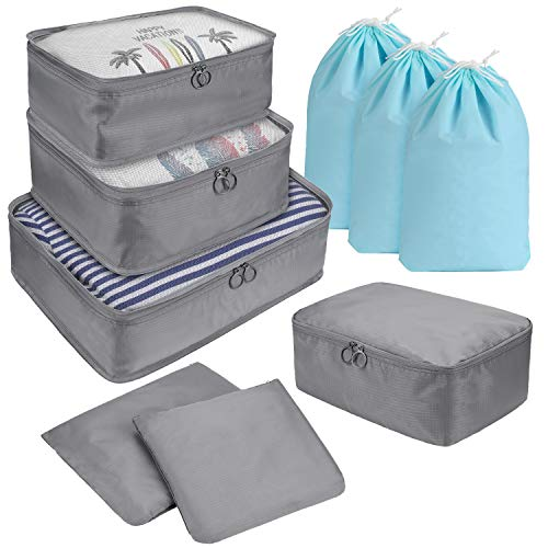 DIMJ 9 Set Packing Cubes, Travel Cubes Luggage Packing Organizers Accessories with Large Flat Bags & Laundry Shoe Bags For Suitcase Home Storage Clothes, Toiletries, Cosmetic (Grey)