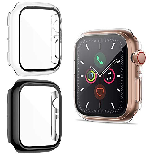HAPAW Protector de Pantalla Compatible con Apple Watch SE/Serie 6/5/4 44 mm, [Paquete de 2] Estuches para PC iWatch Cobertura Total Cubierta Protectora, Compatible con iWatch Series SE/Serie 6/5/4