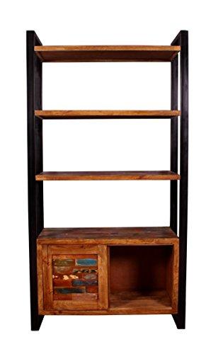 Sit Möbel MOX Bücherregal (3 Schubladen und 1 Tür), Altholz, Bunt Lackiert, 100 x 40 x 190 cm