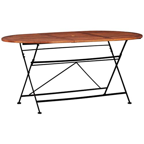 Festnight Tavolo da Giardino Pieghevole in Legno Massello di Acacia Ovale,Tavolo da Pranzo per Esterno Pieghevole 160x85x74 cm