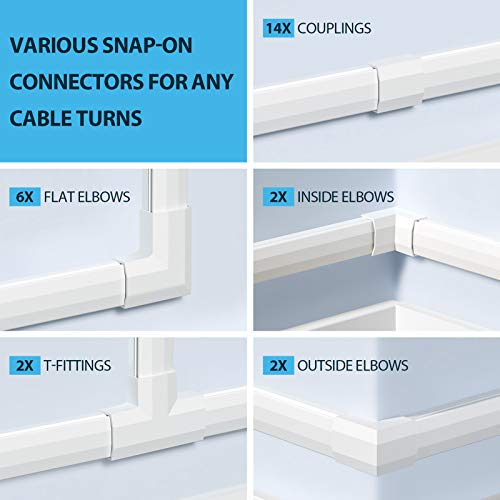 Yecaye 304in Cord Cover Kit, PVC Cable Concealer with Easy Snap-on Connectors & Strong Adhesive, TV Cable Management System to Hide Wires on Wall - 18X L16.9in W1.18in H0.6in, Large, White