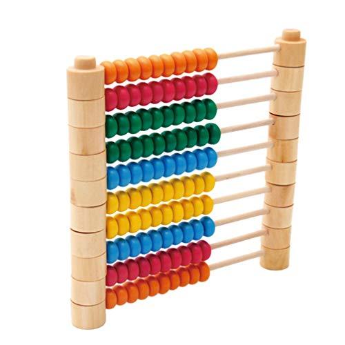 NUOBESTY Juguete de Ábaco Desmontable Número de Cuentas de Recuento de Madera de Cálculo Soporte de Juguete de Matemáticas de Rodillos (Colorido)