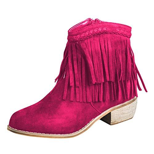 Sllowwa Stiefel Damen Stiefeletten Round Toe Quaste Dicker Absatz Reißverschluss Römerschuh Westernstiefeletten Gummistiefel(Pink,40 EU)