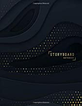 Storyboard Notebook: 8.5 x 11 in, 6 Panel 16:9, 250 Pages, Black and Gold Theme