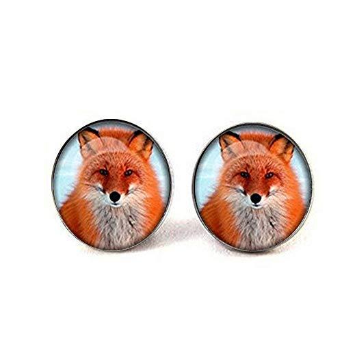Pendientes de cabujón de cristal con diseño de zorro para mujer