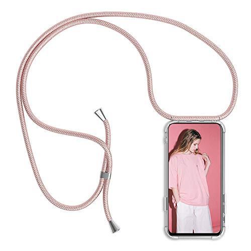 Funda con Cuerda para Samsung Galaxy S7, Transparente Silicona Carcasa para Samsung S7, Rosyheart Suave TPU Gel Case con Colgante Ajustable Correa Collar Anti Golpes Protector Case Oro Rosa