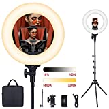 Ring Light, ESDDI 14inch Outer Dimmable Camera Photo Video LED Lighting Kit, Adjustable Color Temperature 3200K-5600K, Light Stand, Phone Adapter, Soft Tube for Portrait YouTube Video, Vlog, Makeup