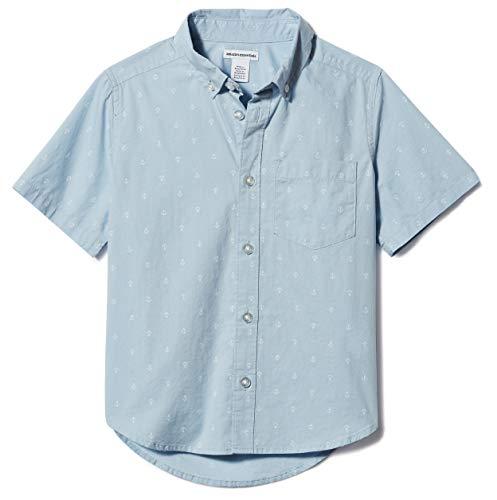 Amazon Essentials Jungen-Kurzarmshirt Poplin/Chambray, Anchor Light Blue, US L (EU 134-140 CM)