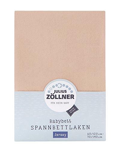 Julius Zöllner 8320147760 - Spannbetttuch Jersey für das Kinderbett, Größe: 60x120 / 70x140 cm, Farbe: sand