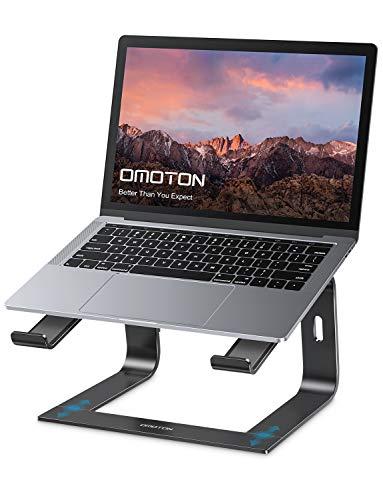 OMOTON Laptop Ständer, Notebook Stand mit Belüftung, Universal PC Riser Ergonomisch Notebook Stand Aluminium für Laptops in 10-15.9 Zoll wie MacBook, Schwarz