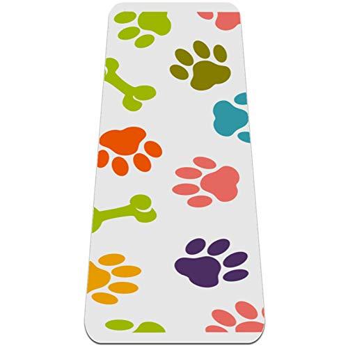 AMEILI Esterilla de yoga para niños, plegable, esterilla de yoga de 6 mm de grosor, antideslizante, para viajes (72 x 24 x 6 mm), huesos de color blanco