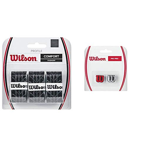 Wilson Overgrip Griffband, Profile Overgrip, 3 Stück, schwarz, WRZ4025BK & Logo-Vibrationsdämpfer für Tennisschläger, Pro Feel, 2er Pack, rot/Silber, WRZ537600